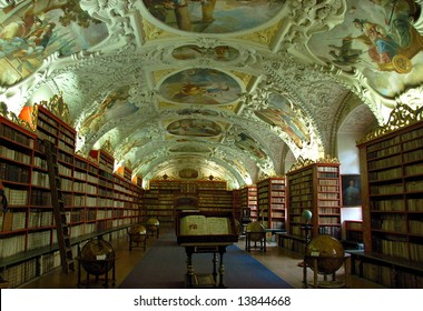 Theological hall of famous baroque library at Strahov Monastery - Prague, Czech Republic