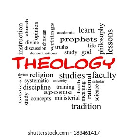 Theology Word Cloud Concept in red caps with great terms such as study, religion, God and more.