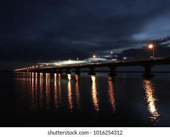 Thepsuda Bridge, the bridge that across the Lam Pao Dam, Kalasin, Thailand.