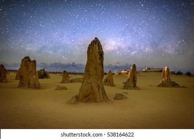 Ther Milky Way over Nambung National Park in Australia