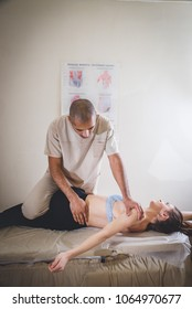 therapeutic massage manual therapy for curing pain in the joints of the osteochondrosis of the spine of muscle relaxation