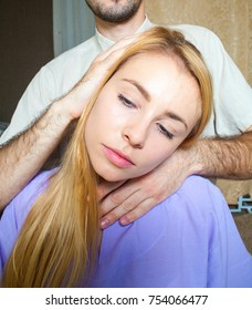 therapeutic neck massage manual therapy for curing pain in the joints of the osteochondrosis of the spine of muscle relaxation