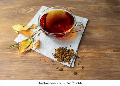 Therapeutic tea with Chaga mushroom.