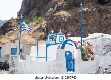THERASIA, GREECE, AUGUST 22: Agios Nikolaos Church on August 22, 2014 in Therasia, Santorini. Therasia is an island in the volcanic island group of Santorini in the Greek Cyclades.