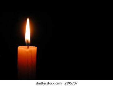 there is a candle at night