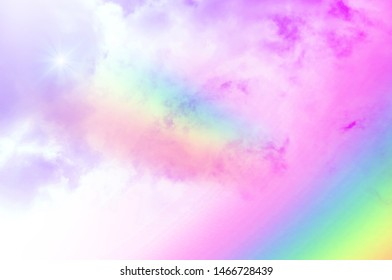 There are clouds and sky with rainbow as pastel background
