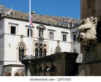 There are faces of God of wind, Eol on all sides of the St Blaise church. Dubrovnik Republic in histroy was depended on good weather on the sea. Palace Sponza can be seen in the background.