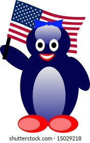There is female penguin with american flag