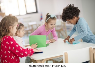 There is a friend to teach you something new. Children in preschool.