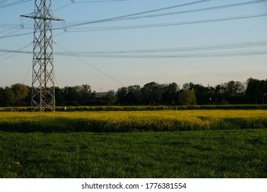 there is a highvoltage pylon in the rape field