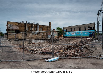 There are many burned down buildings protesters  set a fire on over George Floyd's death. These will remind us of the pain in our history. Photos were taken in Minneapolis, Minnesota, USA on 7/15/20.