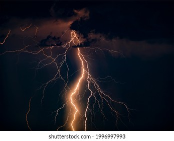 There are many lightning bolts against the black sky. Night photo of a thunderstorm on a long exposure, close up. A composite image of several frames. Copy space, an effect for design and overlay.