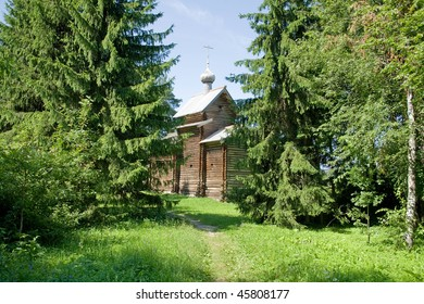 There is an old church in the forest.