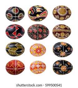There are pysankas with traditional Ukrainian ornaments and symbols. The Easter eggs are decorated with a pattern using a wax-resist method.