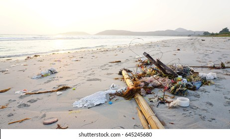 There is rubbish on the beach