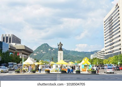 There are some event in front of the  statue of the Admiral Yi Sun-sin stands at Gwanghwamun Square in Seoul, South Korea On 18 September 2017