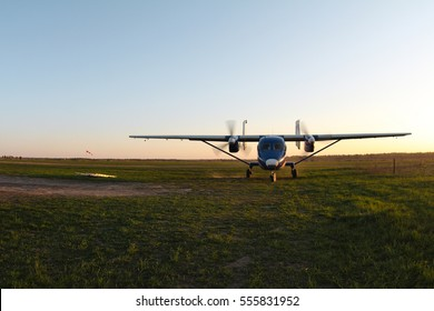 There is a twin-engine aircraft.