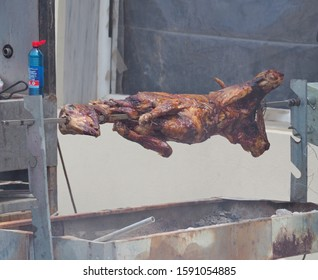 Thermaikos, Thessaloniki/Greece - 05/01/2019 : Grilled lamb on the spit