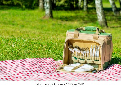 Thermal bag with a set of dishes on a checkered tablecloth on a lawn for a picnic