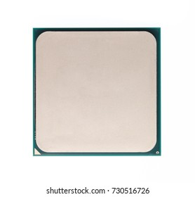 Thermal compound on cpu chip in mainboard computer isolated on white background