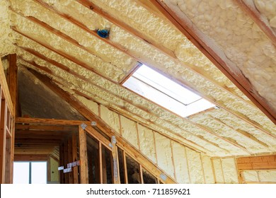 thermal and hidro insulation Inside wall insulation in wooden house, building under construction