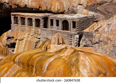 Thermal hotel ruins on Puente del Inca, near the entrance to Aconcagua Provincial Park, Mendoza, Argentina, South America