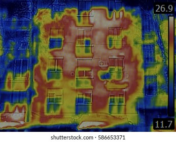 Thermal Image of Heat Leak from Facade Wall