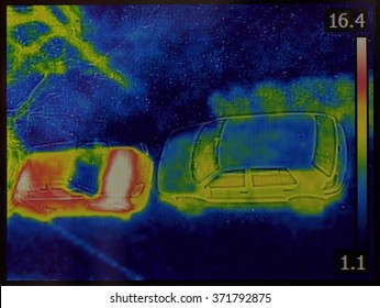 Thermal Imaging of Cars Night Vision Infrared Image