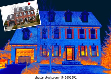 Thermal imaging old house in a small town