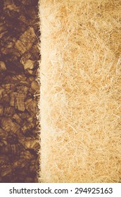 thermal insulating hemp fiber on compressed cork panel background close up