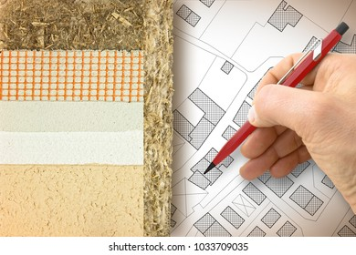 Thermal insulation coatings with hemp for building energy efficiency and reduce thermal losses - Concept image with hand drawing over a cadastral city map