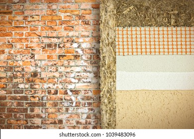 Thermal insulation coatings with hemp for building energy efficiency and reduce thermal losses against a brick wall - Building energy efficiency and savings concept image with copy space