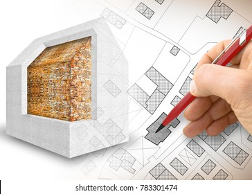 Thermal insulation design of old buildings to improve energy efficiency and reduce thermal losses - 3D render concept image