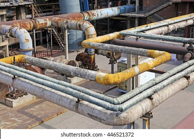 Thermal insulation pipe and mechanical equipment in the factory, closeup of photo