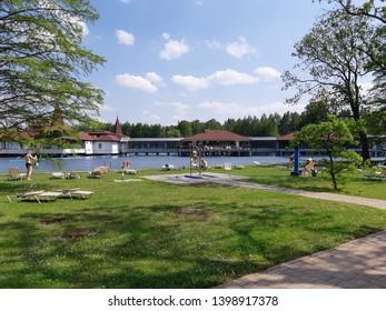 Thermal lake Heviz. Hungary. Spring.
