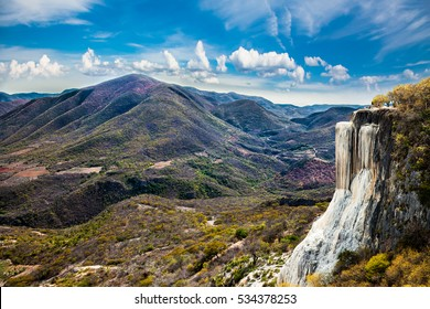 Thermal Mineral Spring Hierve el Agua, natural rock formations near Oaxaca, Mexico.