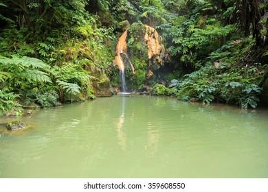 Thermal pool Caldeira Velha, Sao Miguel island on Azores, Portugal