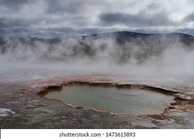 Thermal pool with steam at Hveravellir Nature Reserve in Iceland