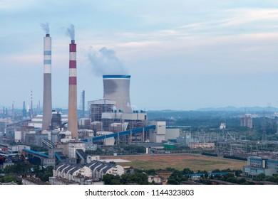 thermal power plant closeup at dusk, jiujiang, China
