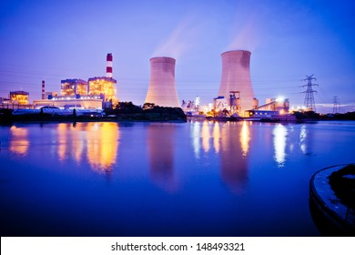 Thermal power plant at dusk