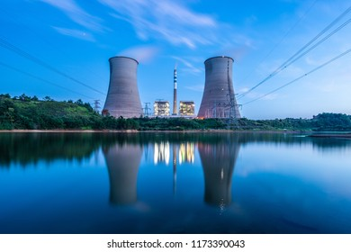 Thermal power plant at dusk, night power plant