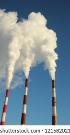 Thermal power plant, the smoke from the chimney. Generation