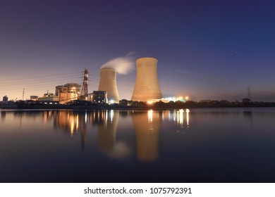 Thermal power plant stack in night