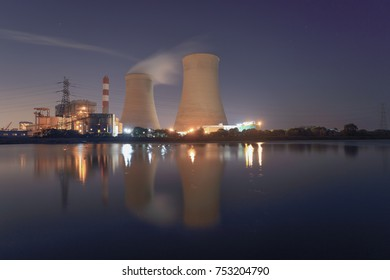 Thermal power plant stack  At night