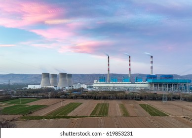 thermal power plant in sunset , more photo stack