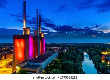 Thermal power station on the river banks of the Ihme river (Warme Brüder)