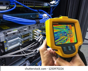 Thermal scan (Thermal imaging camera) Scan to Server computer for temperature checking in Data Center, Server room