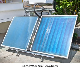 Thermal solar panels for domestic usage. Greece.