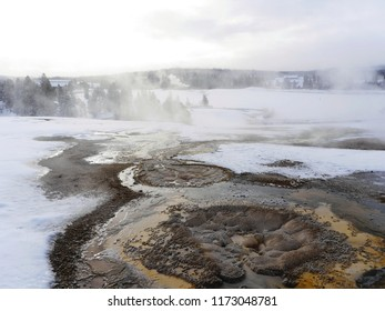 Thermal springs in a frozen Yellowstone National Park, USA
