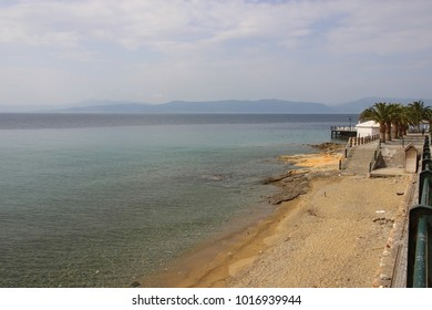Thermal springs on the beach in Loutra Edipsou Evia Greece
